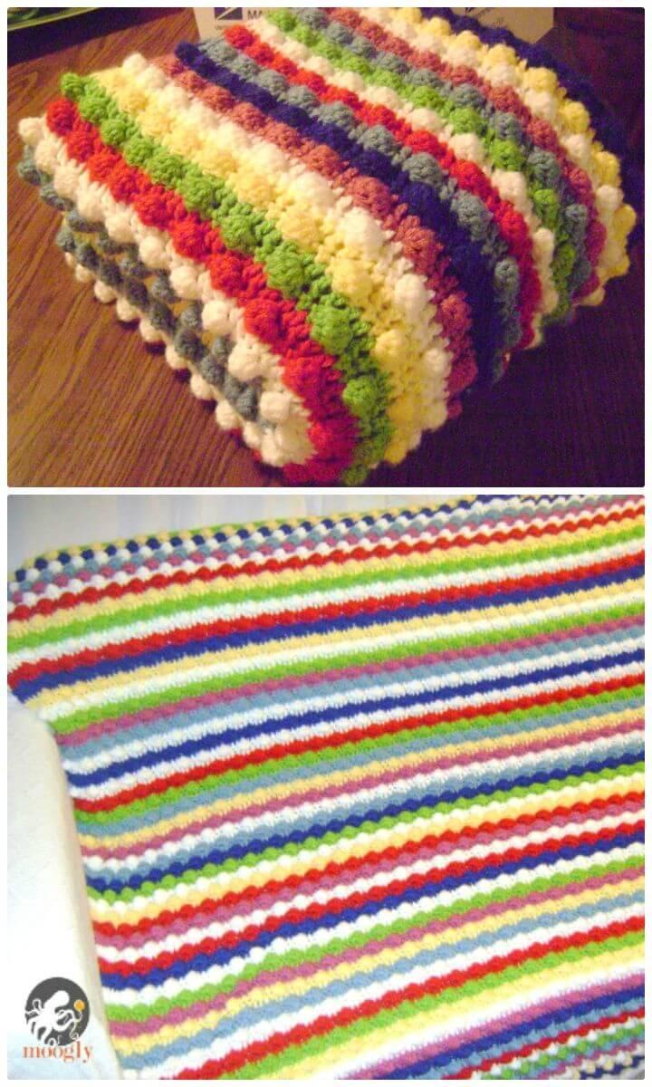 Easy Free Crochet Blackberry Salad Striped Afghan Pattern