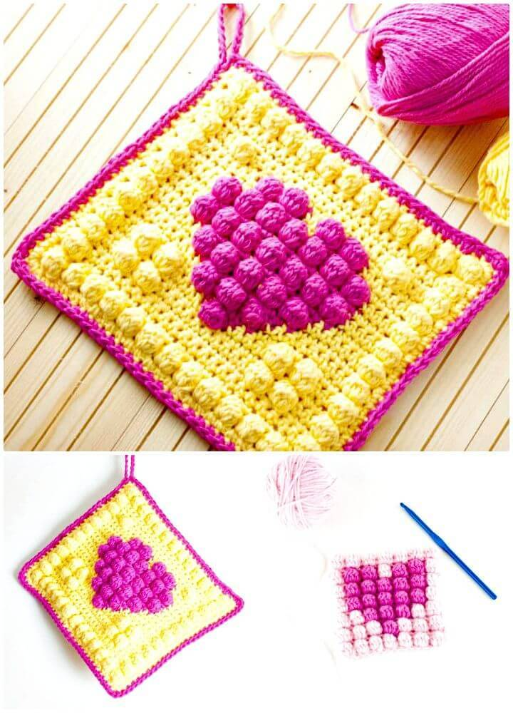 How To Crochet Bobble Heart Potholder - Free Pattern