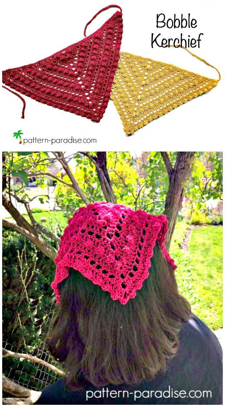 Easy Free Crochet Bobble Kerchief Pattern
