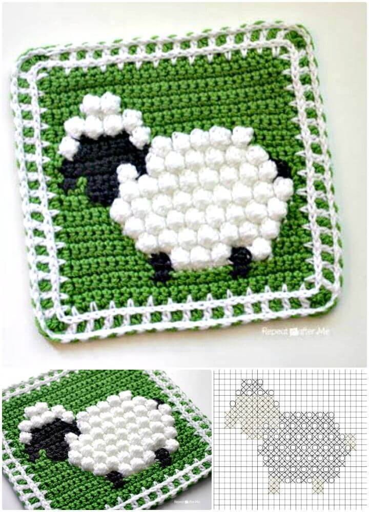 How To Crochet Bobble Stitch Sheep Square - Free Pattern