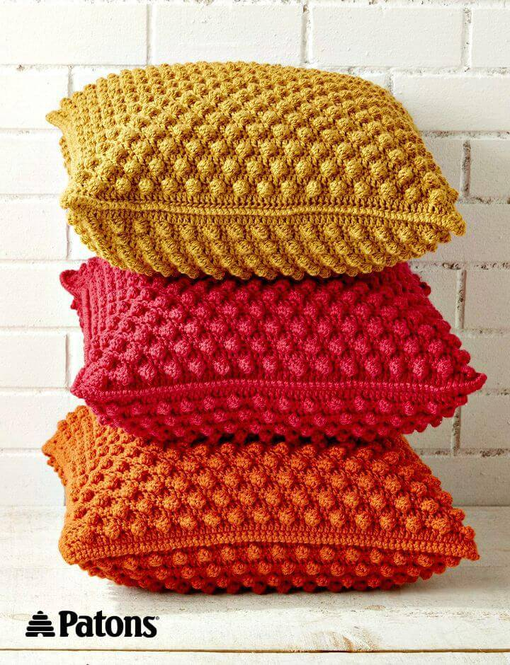 How To Free Crochet Bobble-licious Pillows Pattern