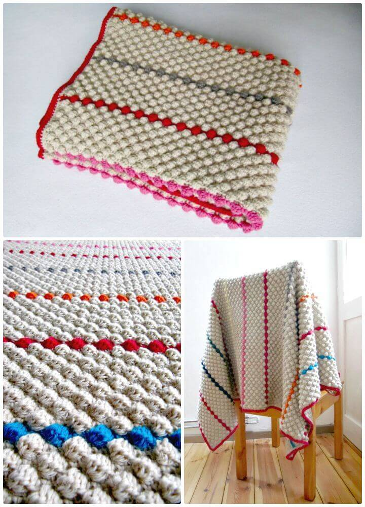How To Free Crochet Bobbly Blanket Pattern