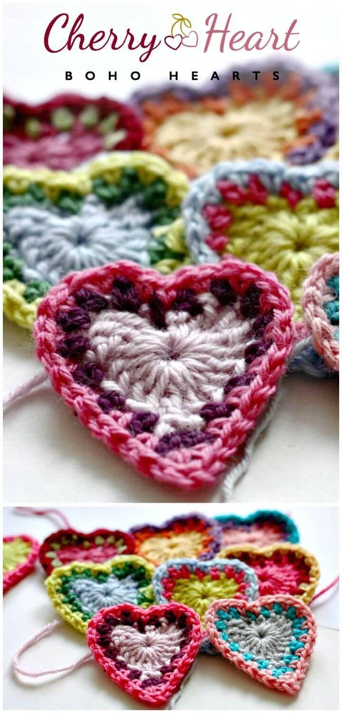 Free Crochet Boho Hearts Pattern