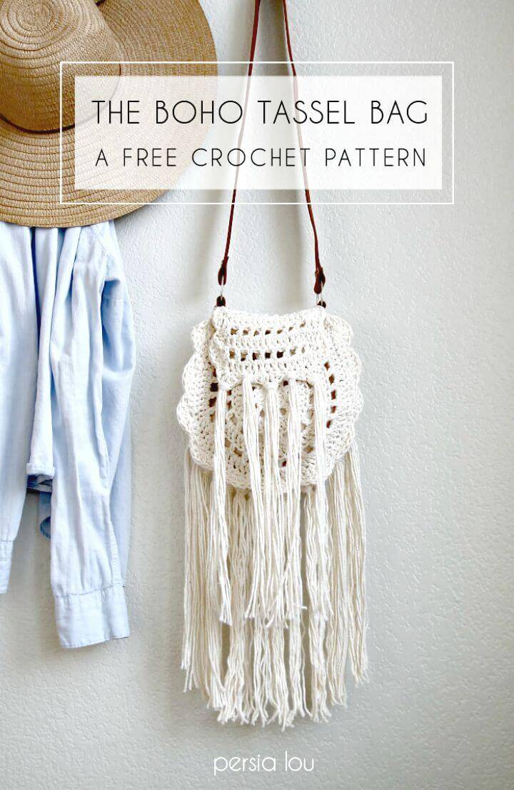 How To Free Crochet Boho Tassel Bag Pattern