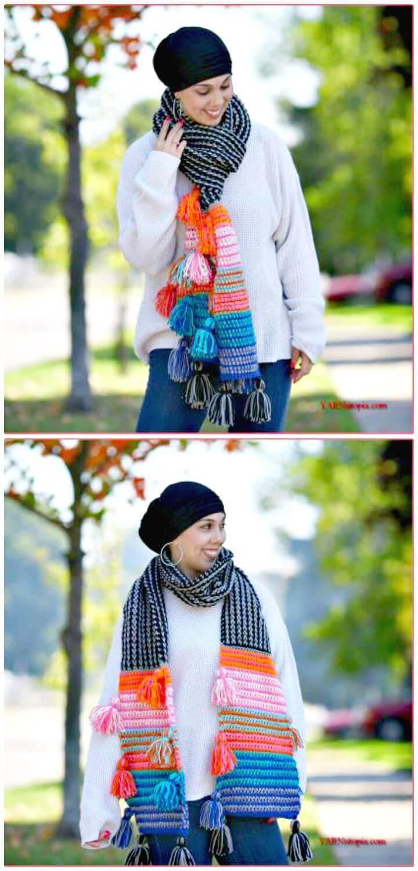Easy Free Crochet Boho Tassel Scarf Pattern