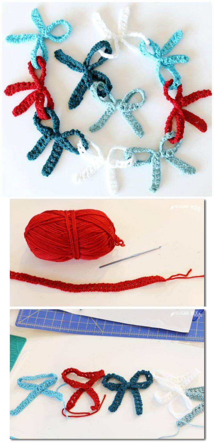 Easy Free Crochet Bow Garland Pattern