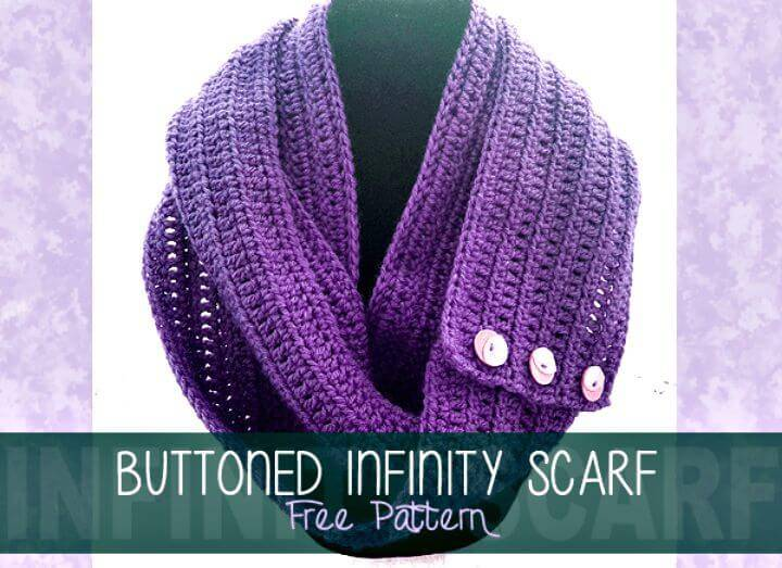 Easy Free Crochet Buttoned Infinity Scarf Pattern