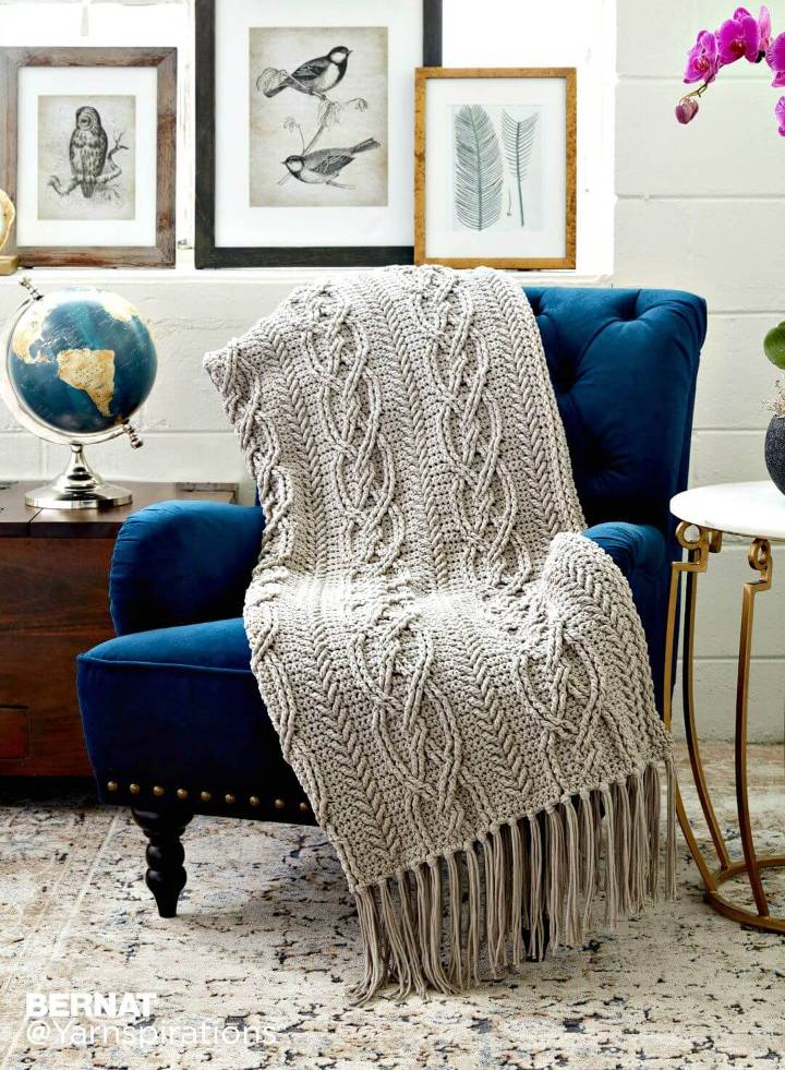 How To Free Crochet Cable Work Blanket Pattern