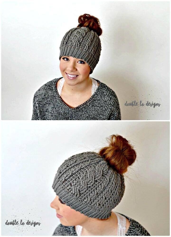 Free Crochet Cabled Messy Bun Hat Pattern - Adult Sizes
