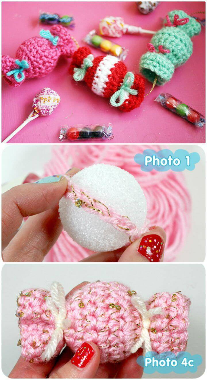 Easy Free Crochet Candy Garland or Candy Ornaments Pattern