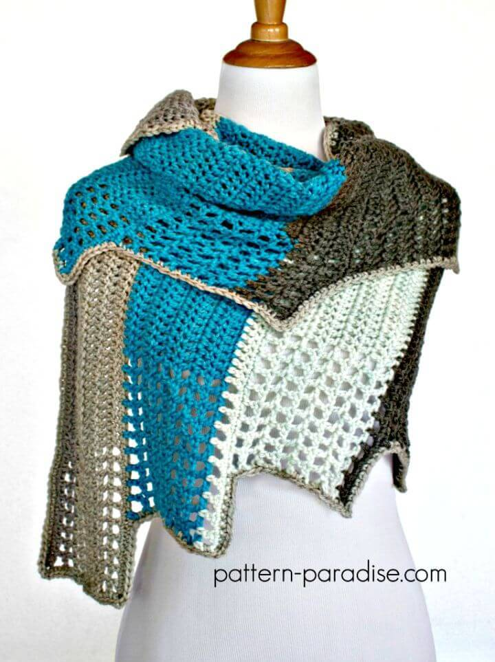 Easy Free Crochet Caron Cakes Blue Ridge Wrap Pattern