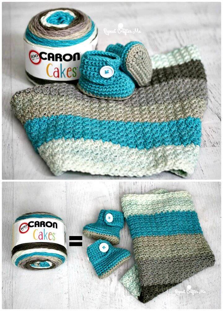 ae3fa297d3a How To Crochet Caron Cakes Yarn Button Baby Booties And Blanket - Free  Pattern