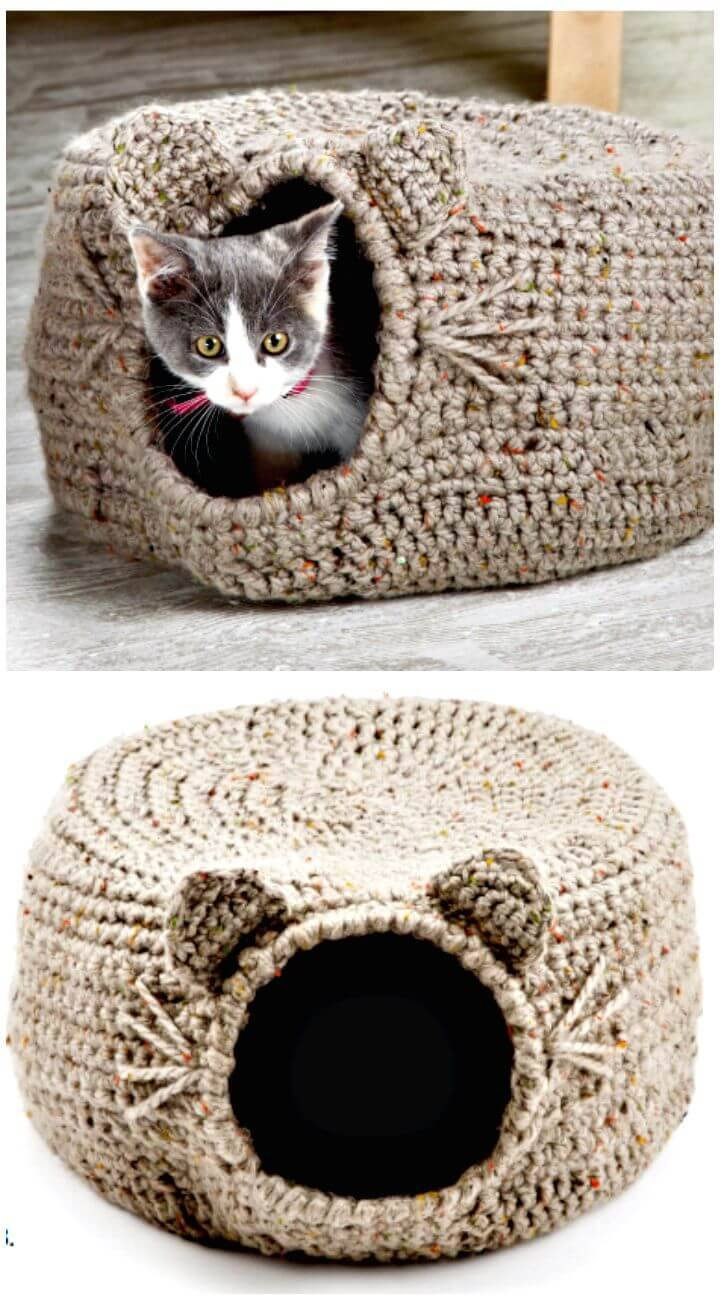 How To Free Crochet Cat Igloo Bed Pattern
