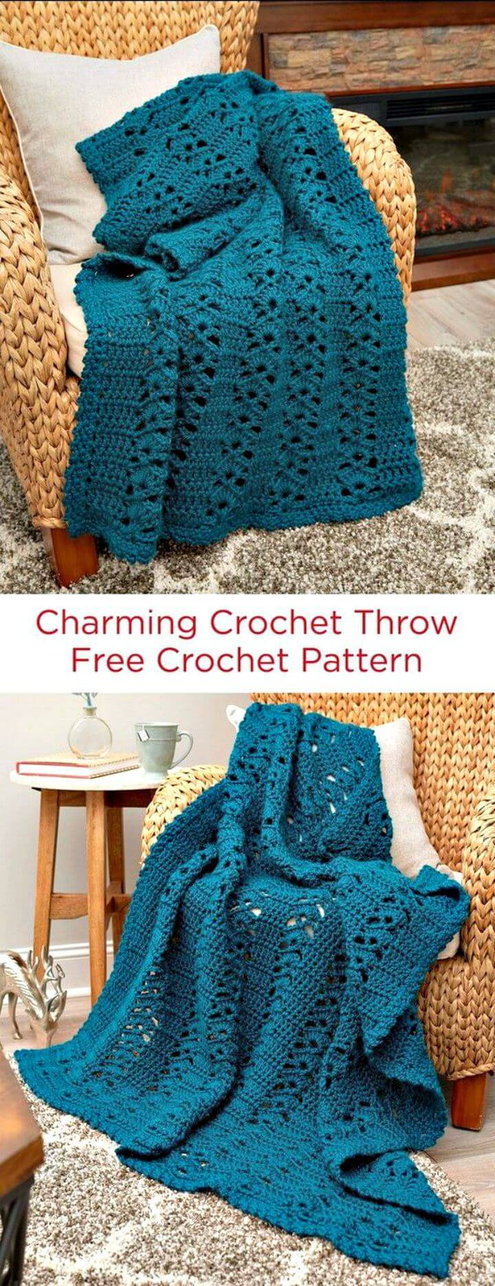 Easy Free Crochet Charming Afghan Throw Blanket Pattern