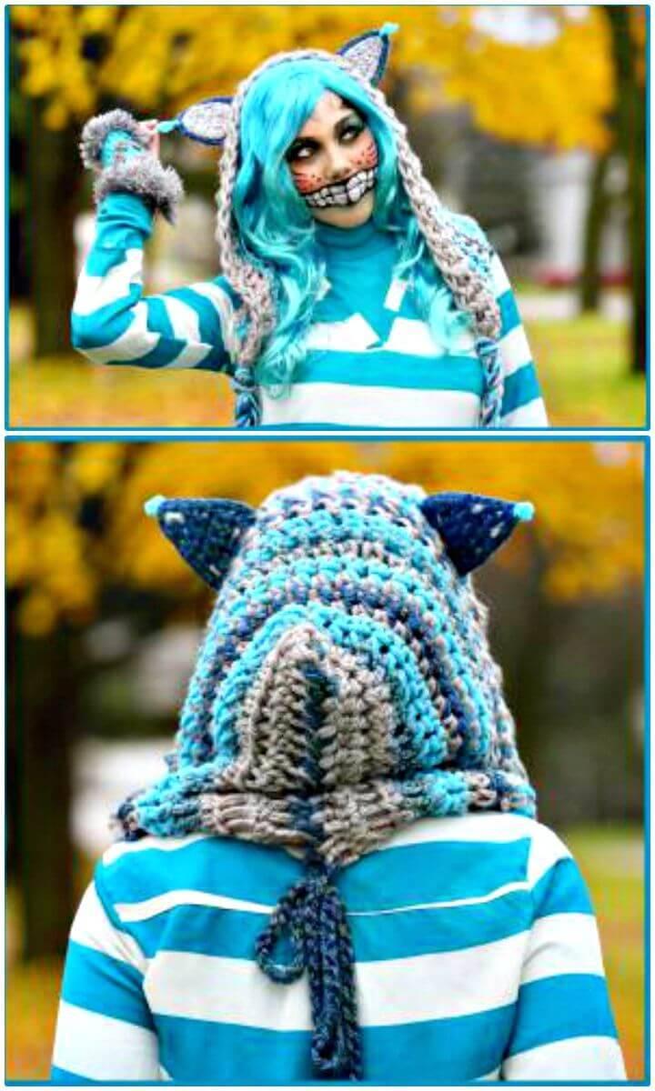 Free Crochet Cheshire Cat Hoodie Scarf Pattern