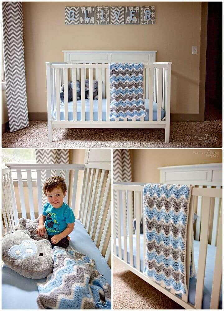 How To Free Crochet Chevron Baby Blanket Pattern