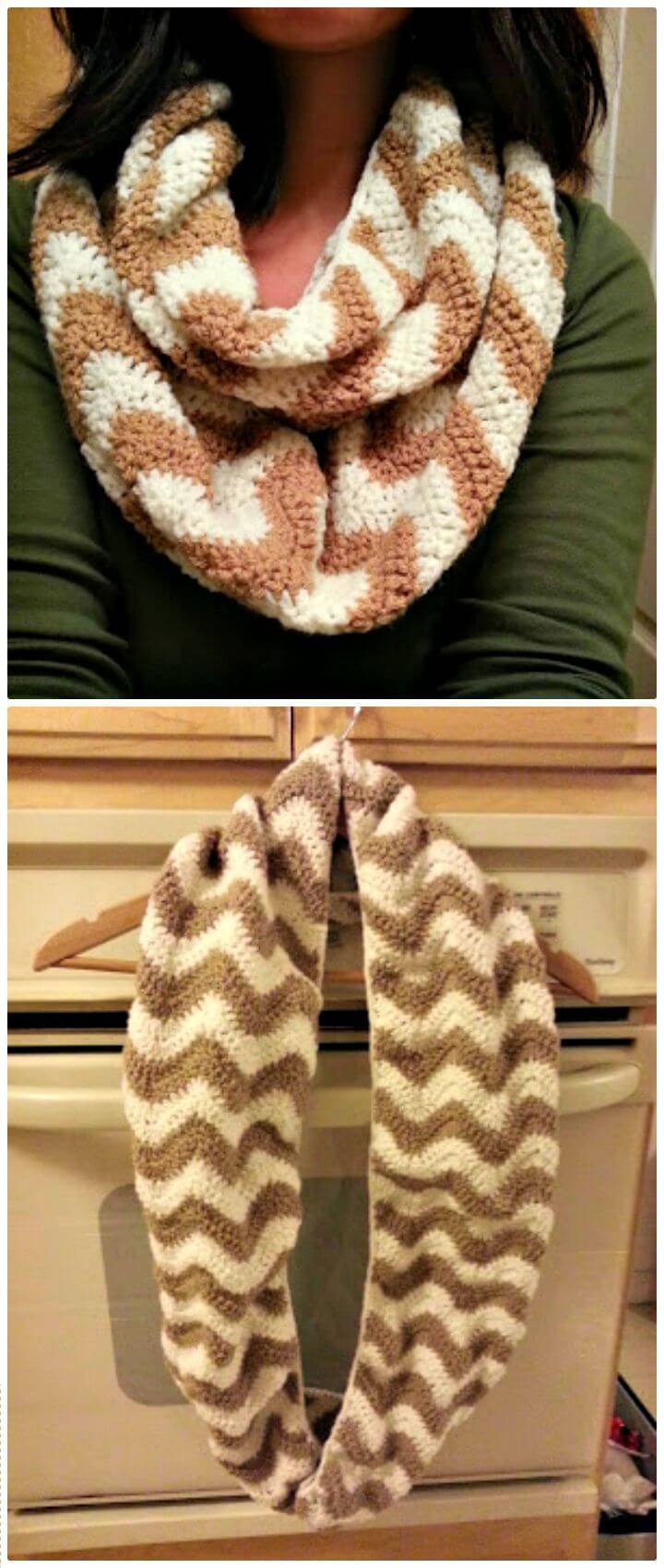 How To Free Crochet Chevron Infinity Scarf Pattern