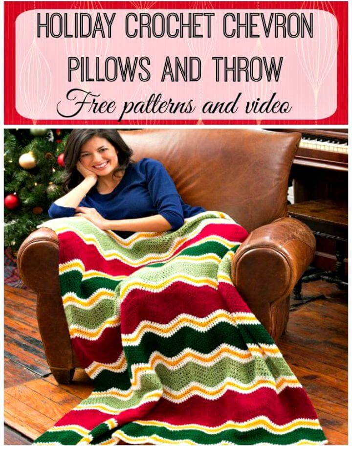 Easy Free Crochet Chevron Pillows And Blanket Set Pattern