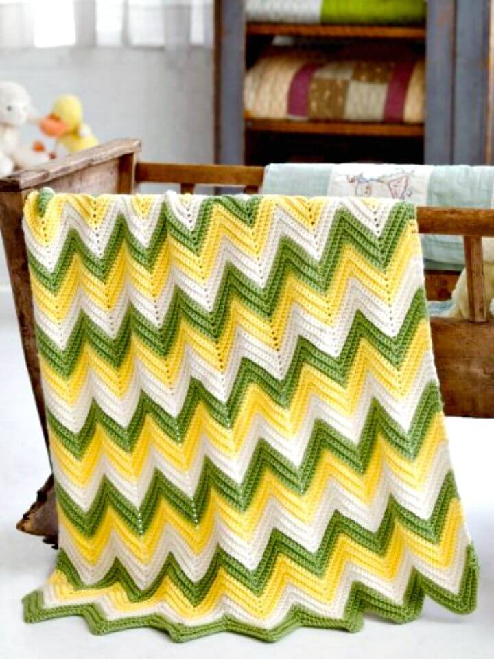 How To Free Crochet Chevron Zig Zag Baby Blanket Pattern
