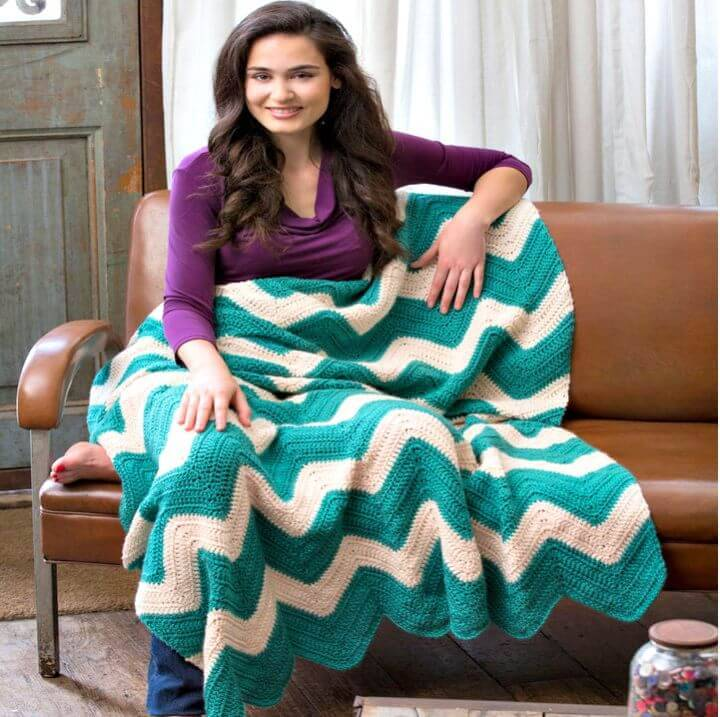 How To Free Crochet Chic Chevron Throw Pattern