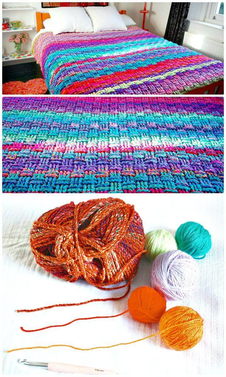 How To Free Crochet Christmas Basket Weave Blanket Pattern