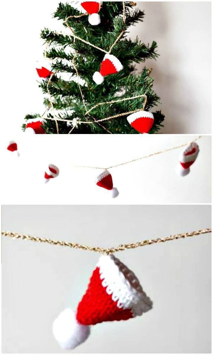 Easy Free Crochet Christmas Hat Garland Pattern