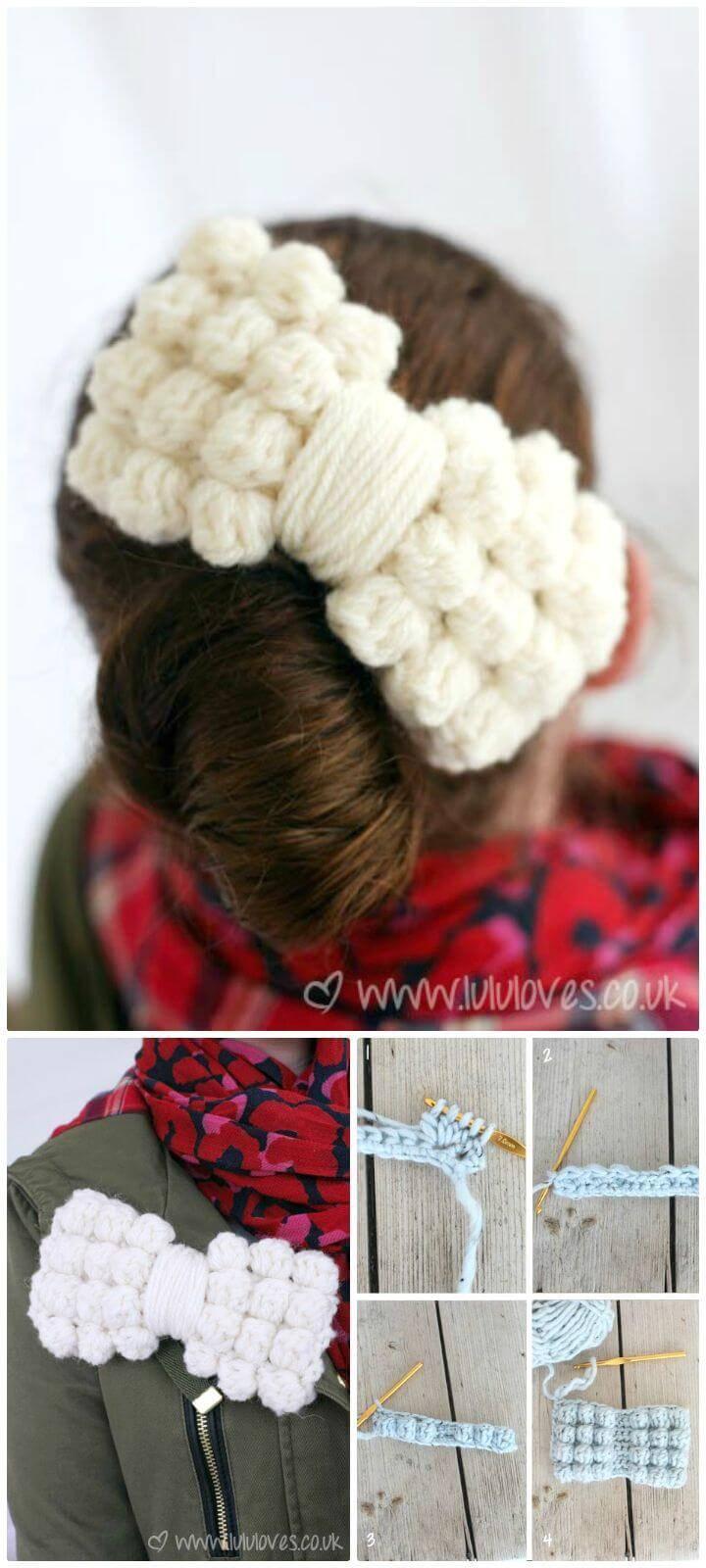 Free Crochet Chunky Bobble Bows Pattern