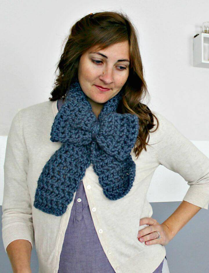 Easy Free Crochet Chunky Bow Scarf Pattern