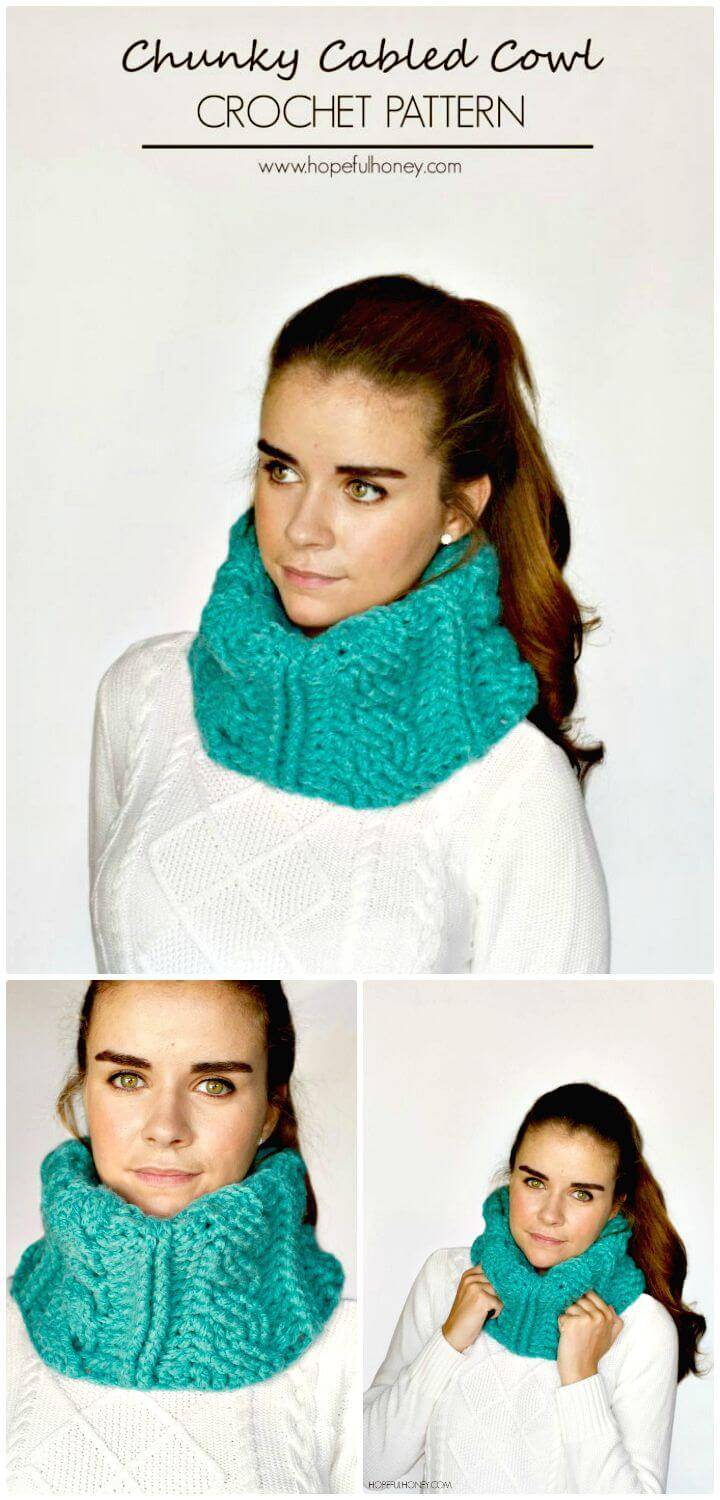 Easy Free Crochet Chunky Cabled Cowl Pattern