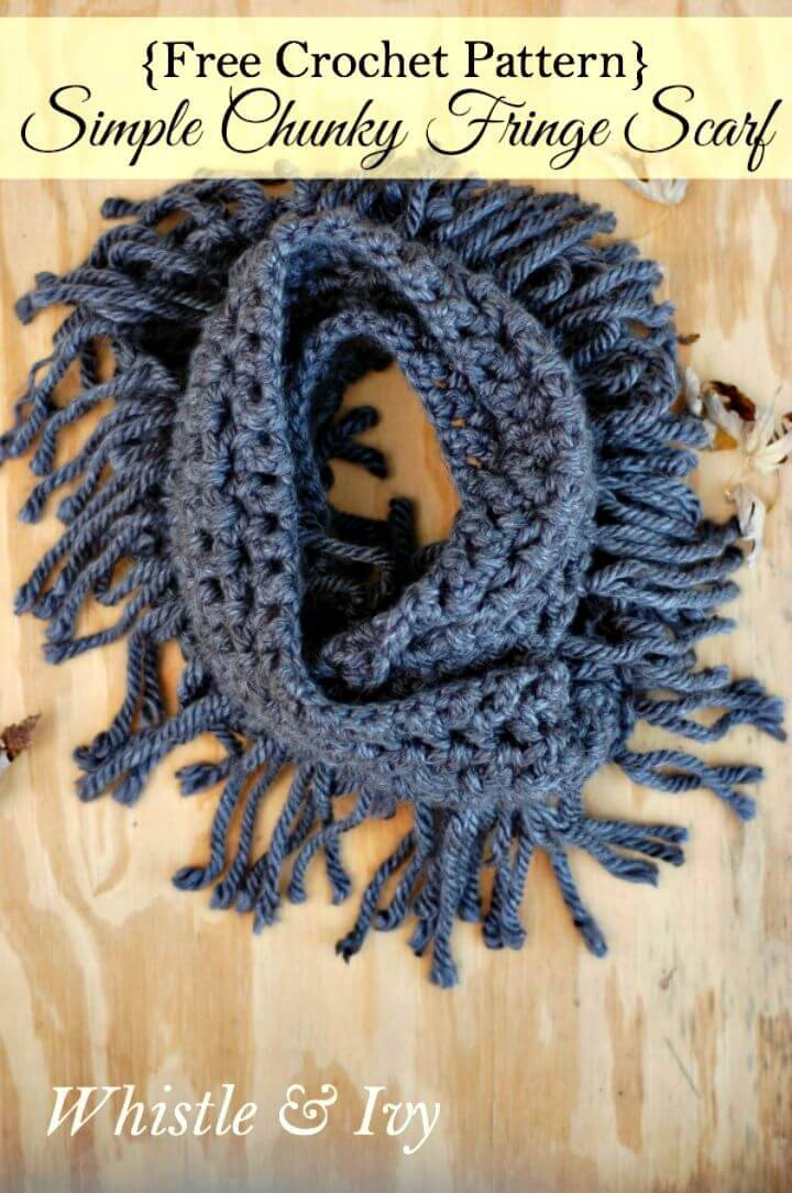 How To Free Crochet Chunky Fringe Infinity Scarf Pattern