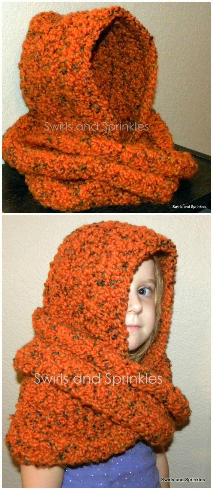 3d06356a245 Easy Free Crochet Chunky Hooded Infinity Scarf Pattern