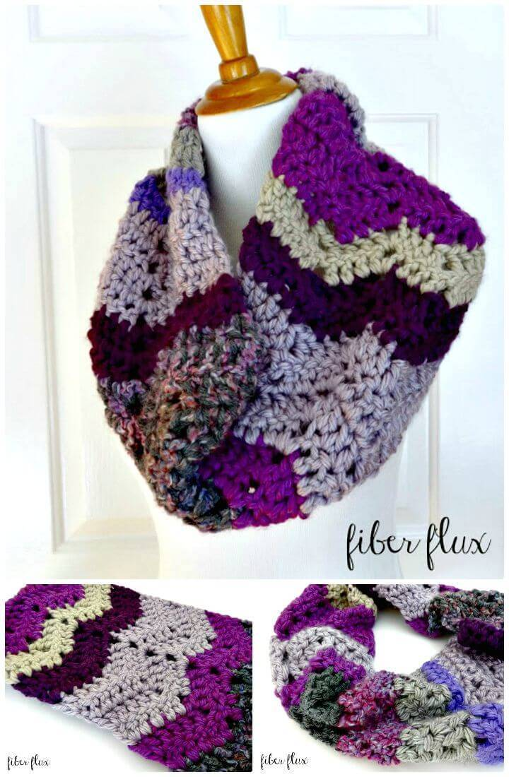How To Free Crochet Chunky Violet Stashbuster Cowl Pattern