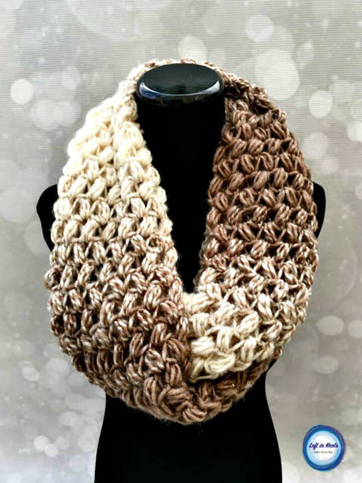 Easy Free Crochet Coffee Bean Infinity Scarf Pattern