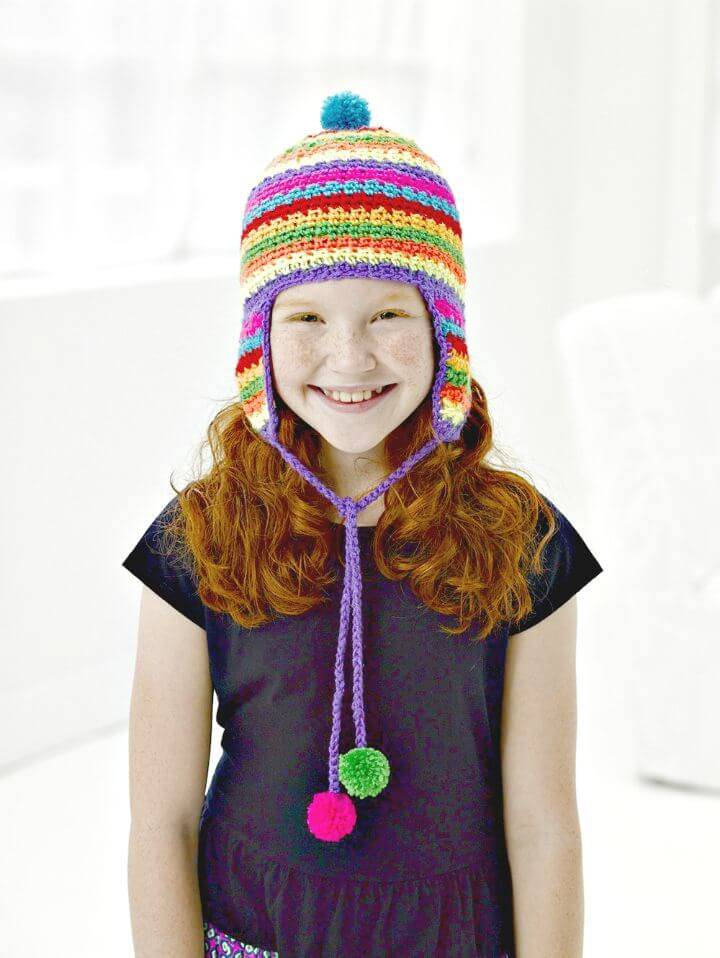 Easy Free Crochet Colorful Ear-flap Hat Pattern