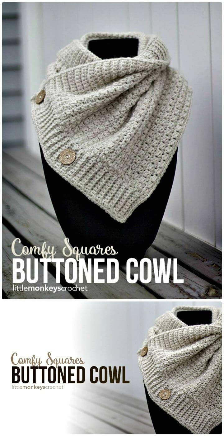 Free Crochet Comfy Squares Buttoned Cowl Pattern