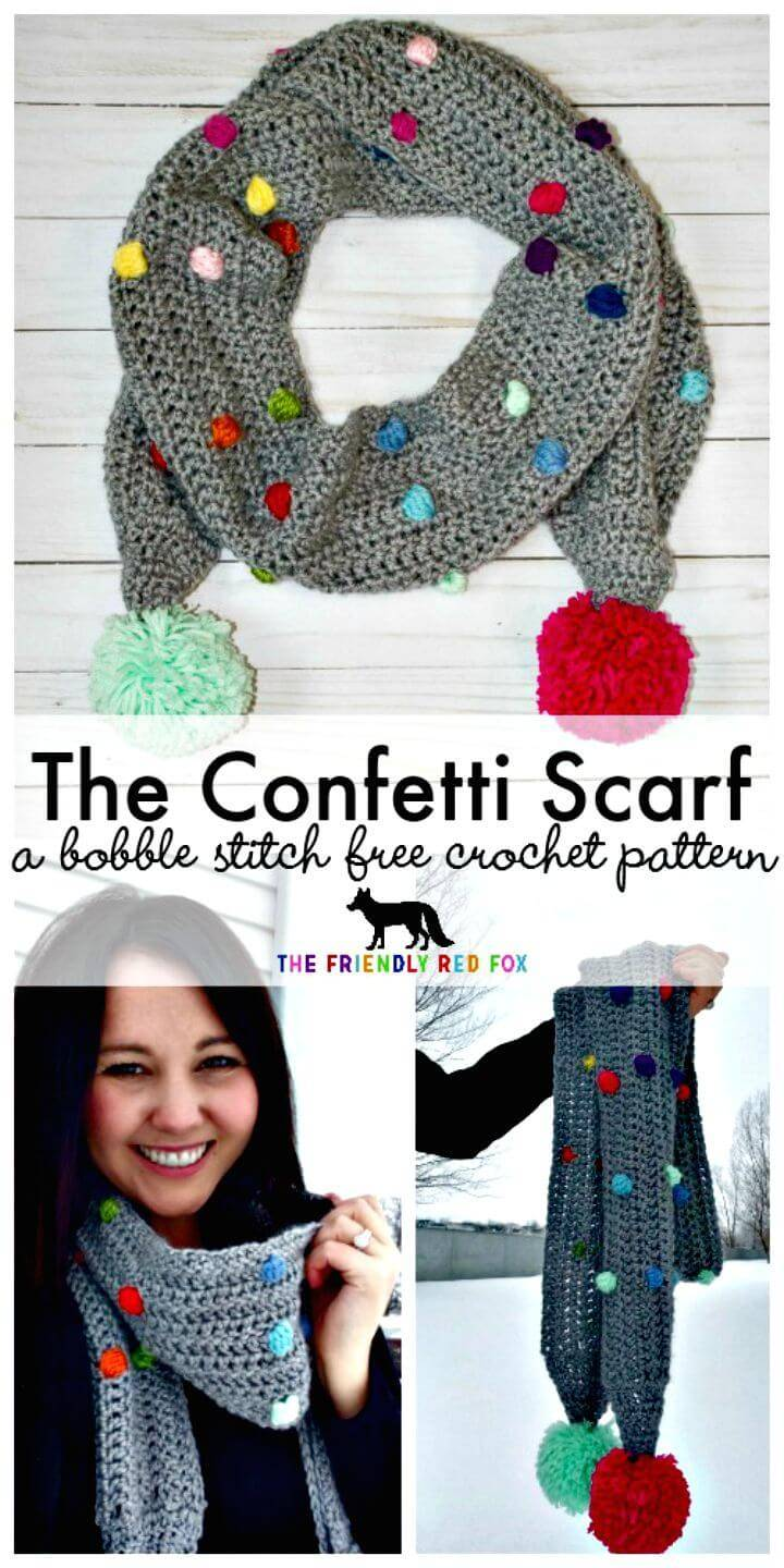 Free Crochet Confetti Scarf With Bobble Stitch Pattern