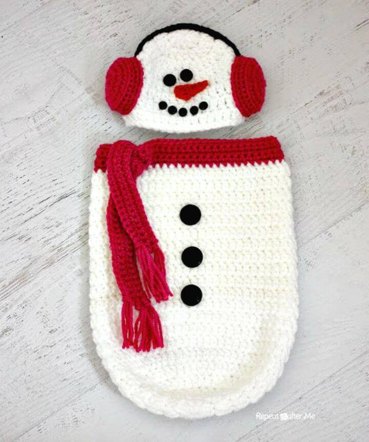 Free Crochet Snowman Ear Muff Hat And Cocoon Pattern