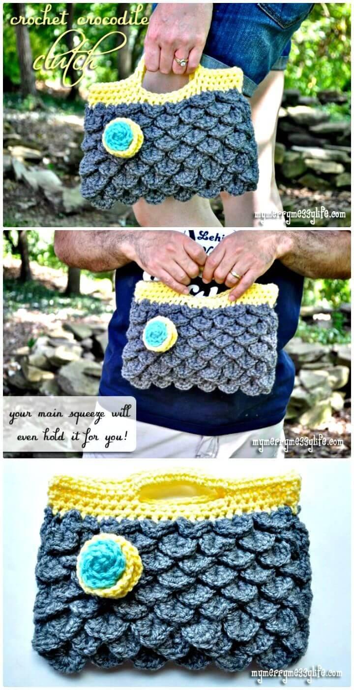 Cute Free Crochet Crocodile Clutch Purse Pattern