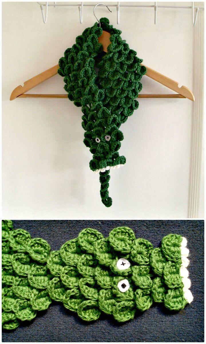 Easy Crochet Crocodile Scarf Head - Free Pattern