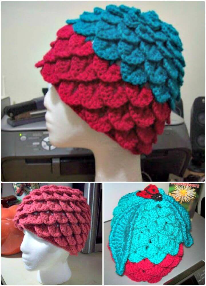 Easy Crochet Crocodile Stitch Adult Hat - Free Pattern