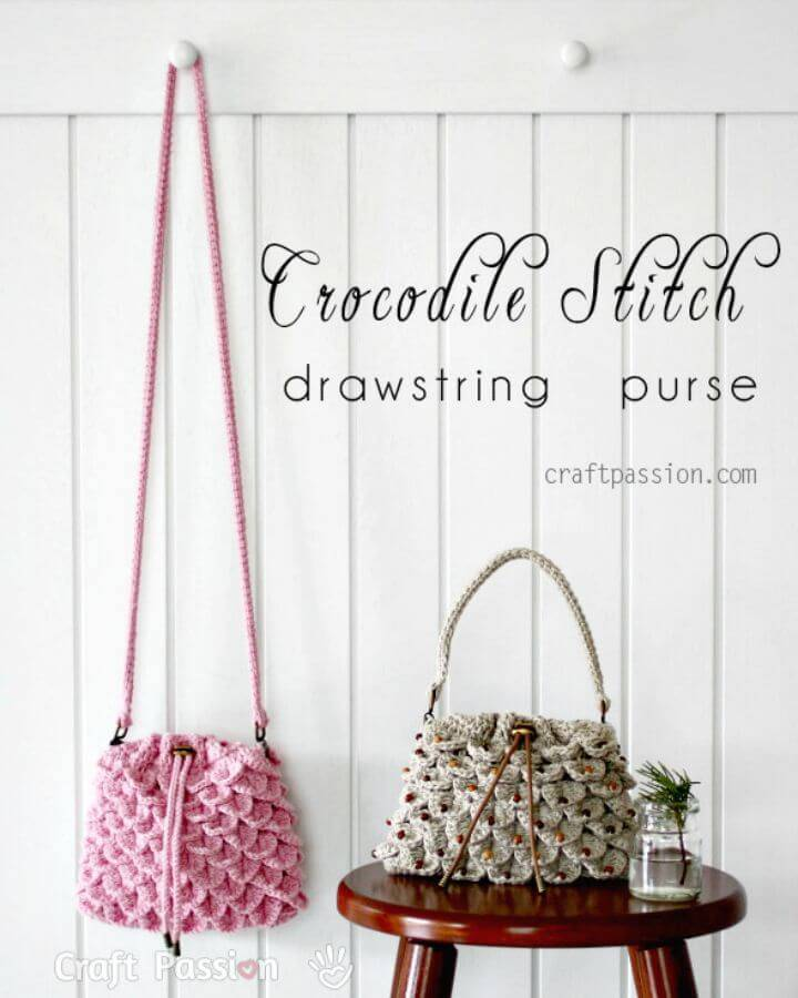 Easy Crochet Crocodile Stitch Drawstring Purse - Free Pattern