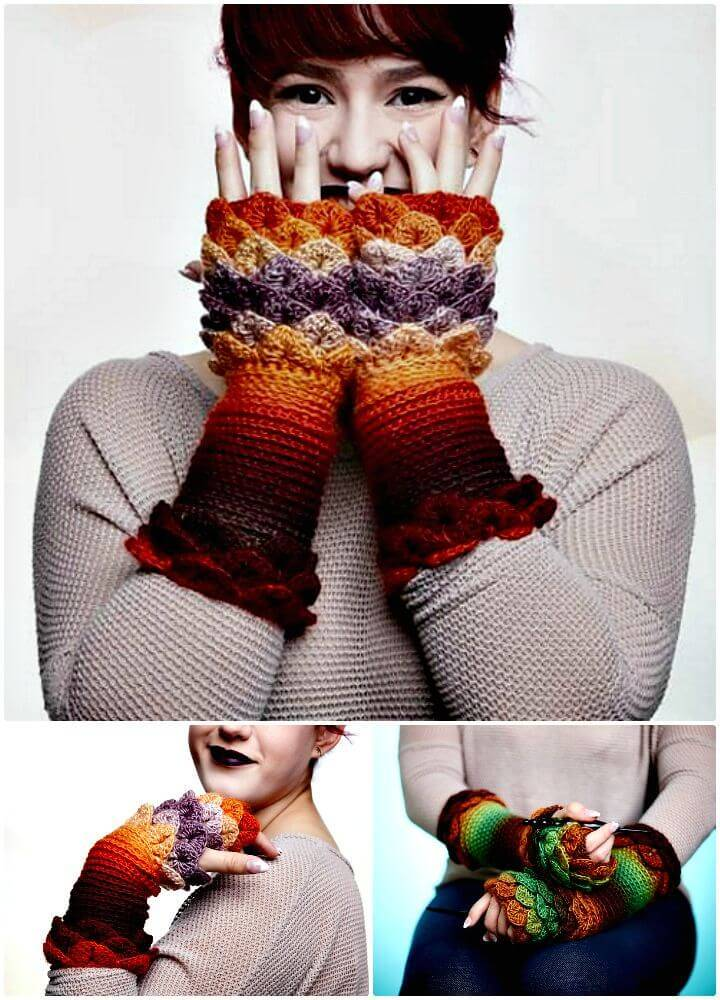How To Crochet Crocodile Stitch Finger Less Gloves - Free Pattern