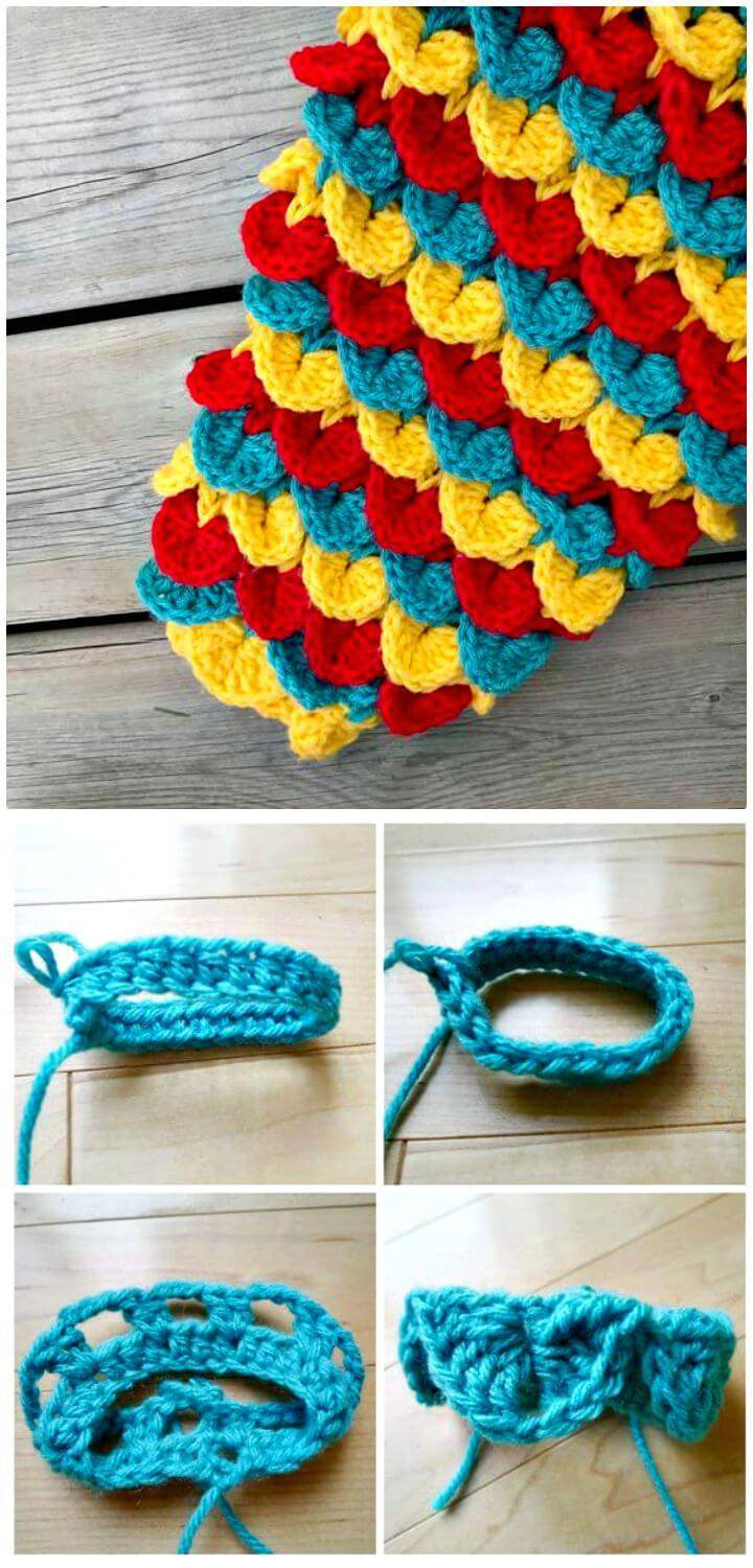 Easy Crochet Crocodile Stitch Mermaid Tail Blanket - Free Pattern
