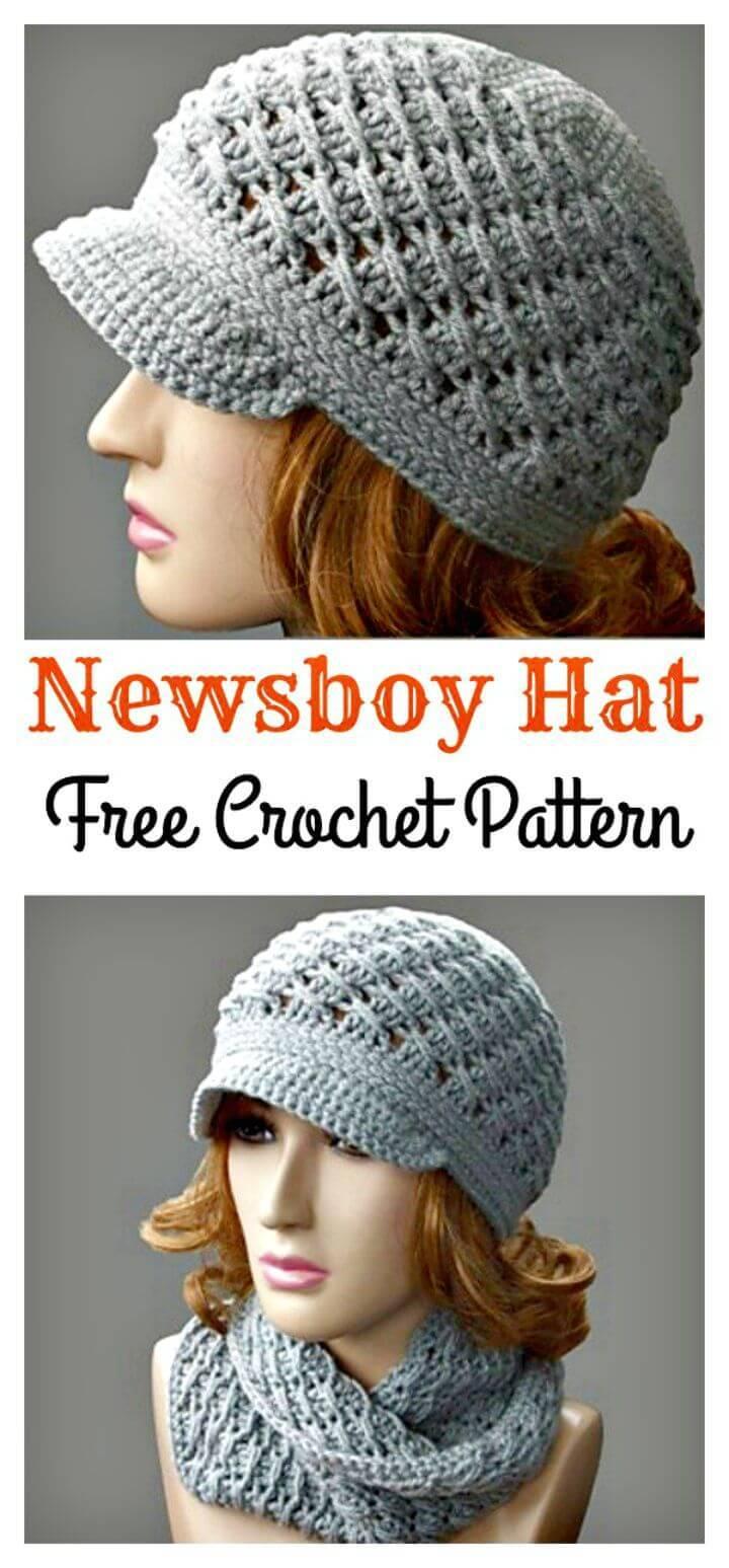 Crochet Cross-Over Long DC Newsboy Hat Pattern
