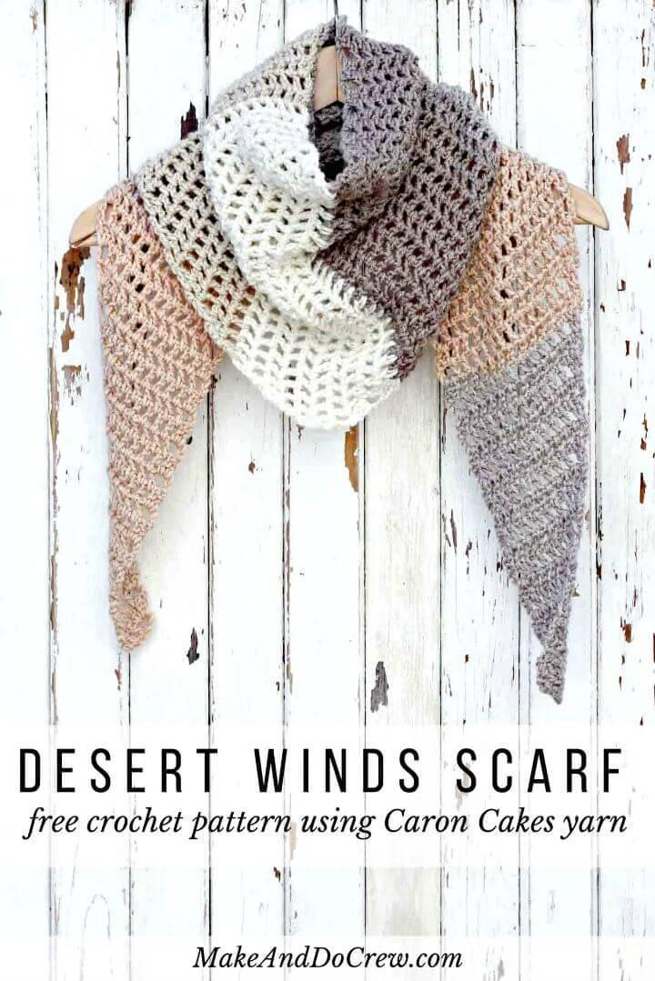 Easy Free Crochet Desert Winds Scarf – Caron Cakes Pattern