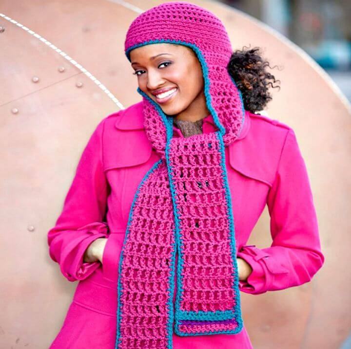 Easy Free Crochet Double Stitch Hooded Scarf Pattern
