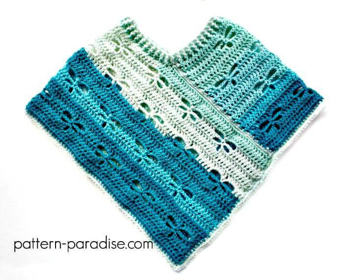 Easy Free Crochet Dragonfly Poncho Pattern Using Caron Cake