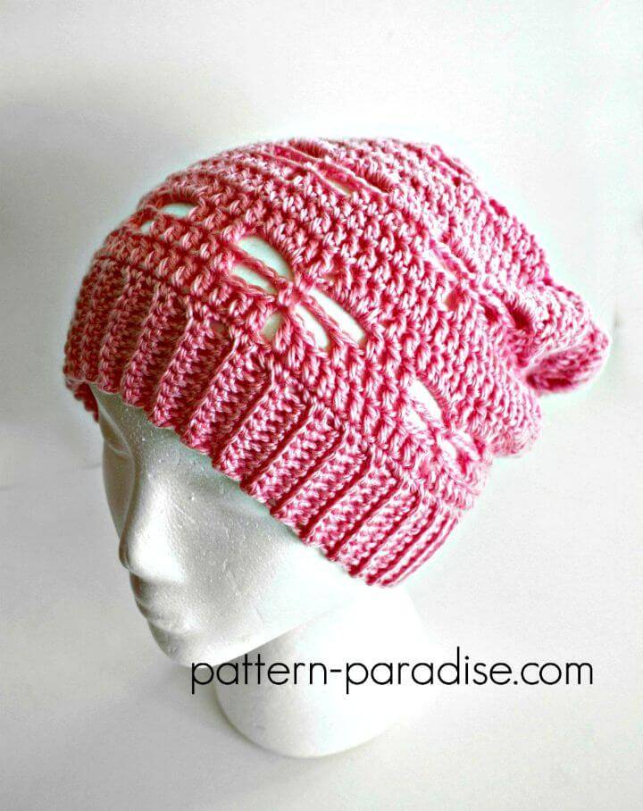 Free Crochet Dragonfly Slouchy Hat Pattern