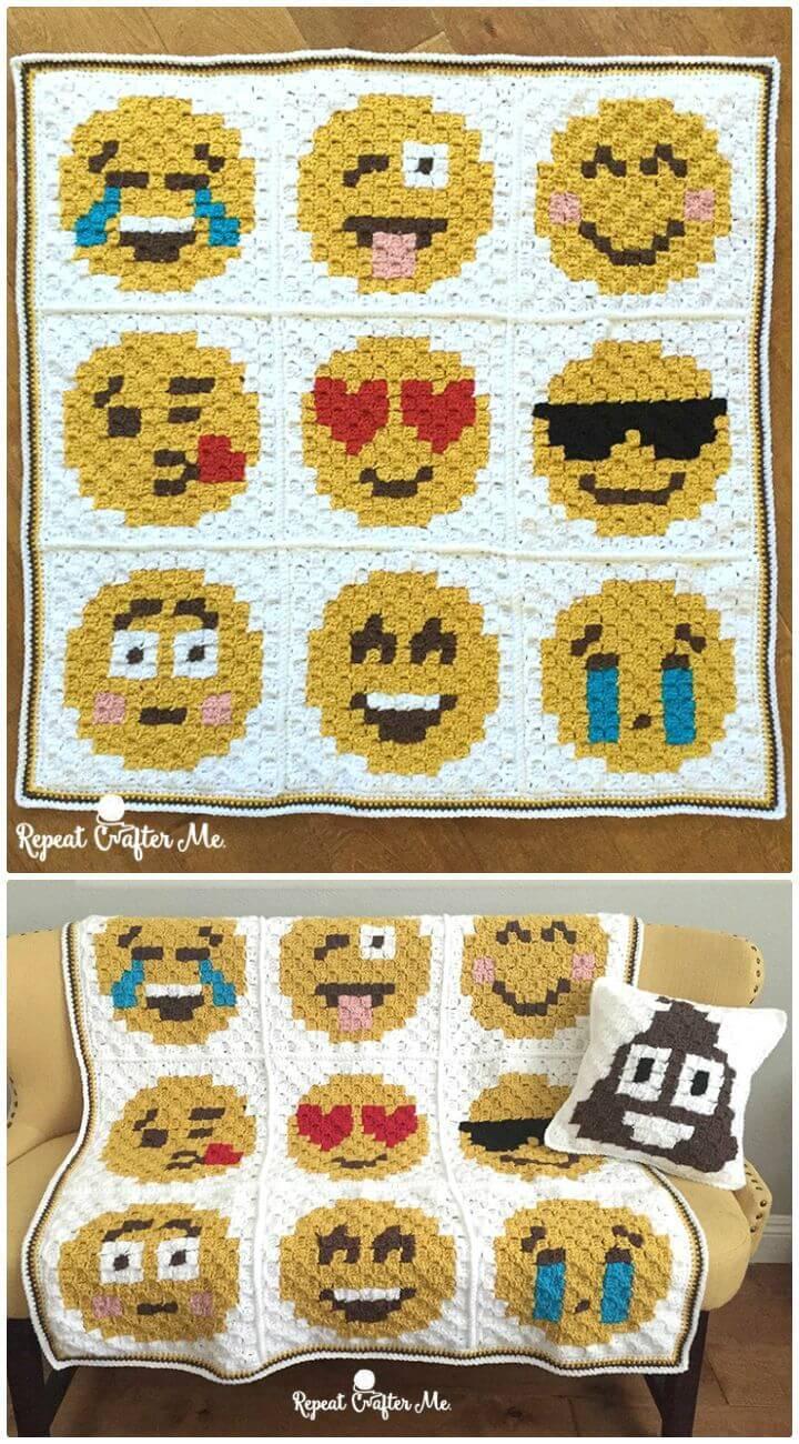 How To Free Crochet Emoji C2C Graphgan Pattern