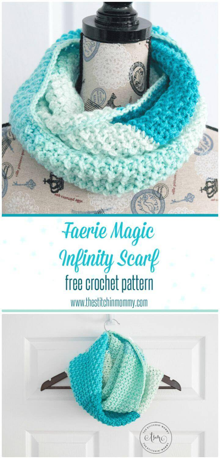 How To Free Crochet Faerie Magic Infinity Scarf Pattern